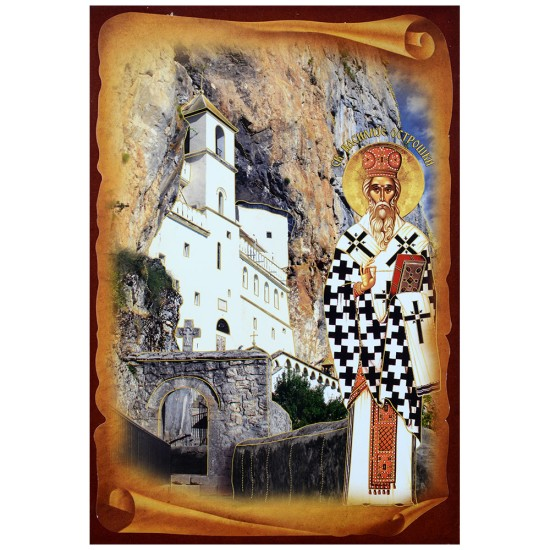 Sveti Vasilije Ostroški sa manastirom (32x22) cm