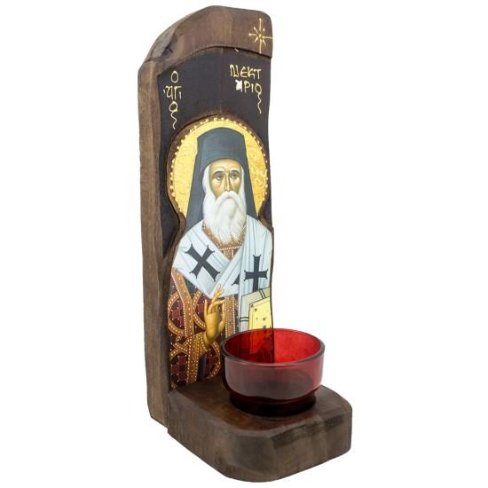 Sveti Nektarije, stono-zidno kandilo sa ikonom (30x10) cm